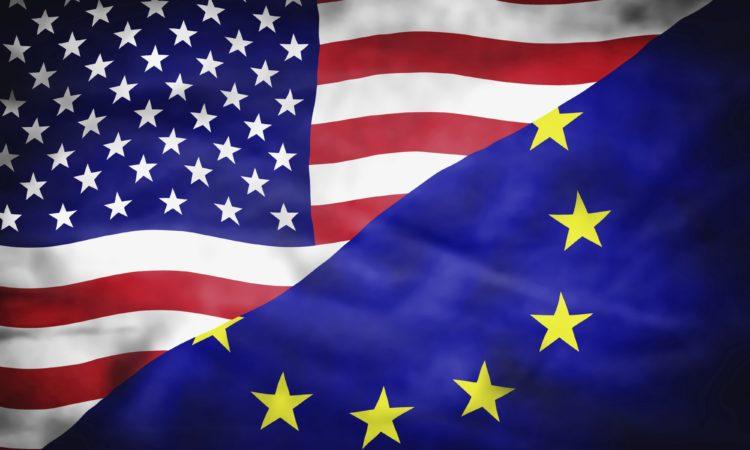 United States of America and European Union mixed flag. Wavy flag of United States of America and European Union fills the frame.