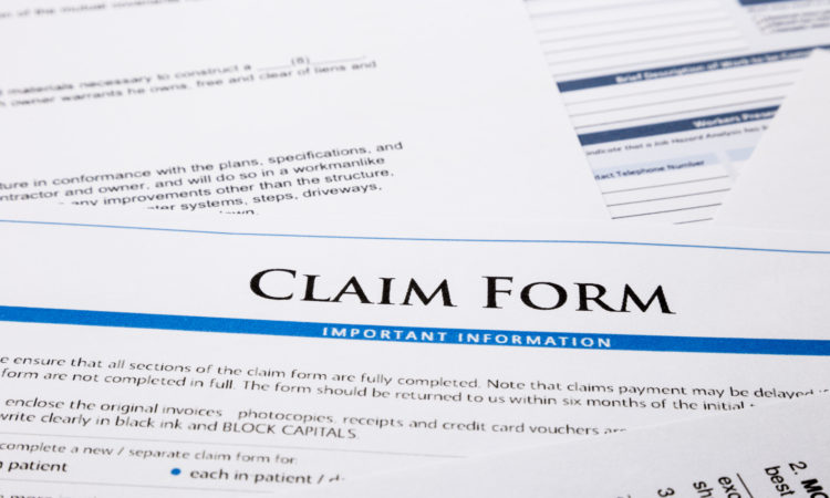 claim form, paperwork and legal document, accident and insurance concepts