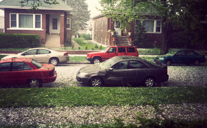 Hail in Chicago during spring afternoon.